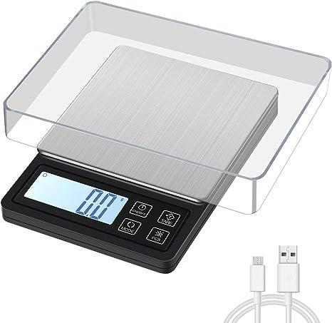 MOSUO Báscula Digital para Cocina con Carga USB, 3000g/0.1g Balanza de Cocina de Acero Inoxidable Balanza de Alimentos Multifunción, Balanza de Precision con Pantalla LCD y Función de Tara: Amazon.es