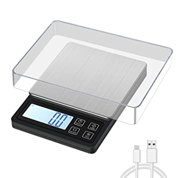 MOSUO Báscula Digital para Cocina con Carga USB, 3000g/0.1g Balanza de Cocina de Acero Inoxidable Balanza de Alimentos Multifunción, Balanza de ...