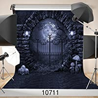 WOLADA 10x10ft Halloween Castle Door with Bat Pumpkin Lights Vinyl Photography Background Photo Backdrop Studio Prop 10711
