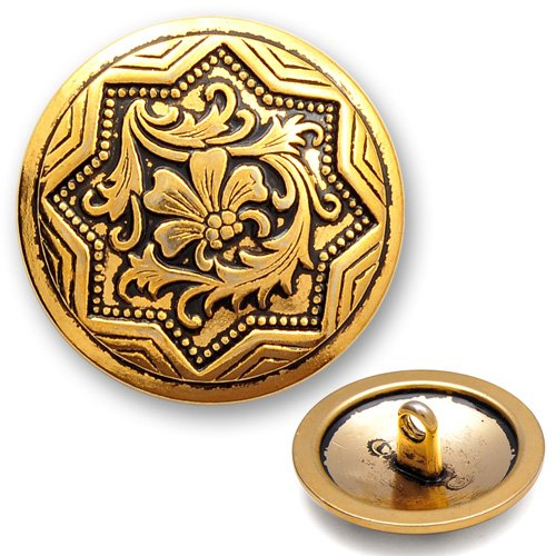 15mm (5/8'') Metal Button with Shank by 4pcs, Antique Gold, BEA-20944 -