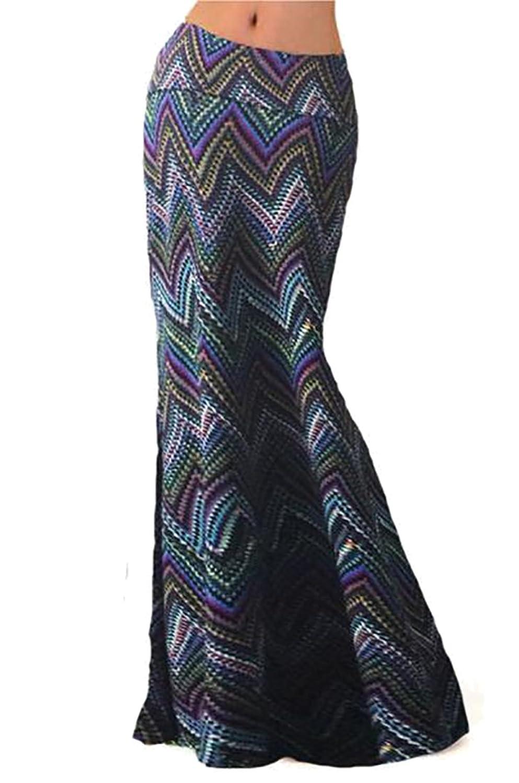 4f8a3e965 80%OFF Oberora Womens Vintage Printed Fold Over High Waist Long Maxi ...