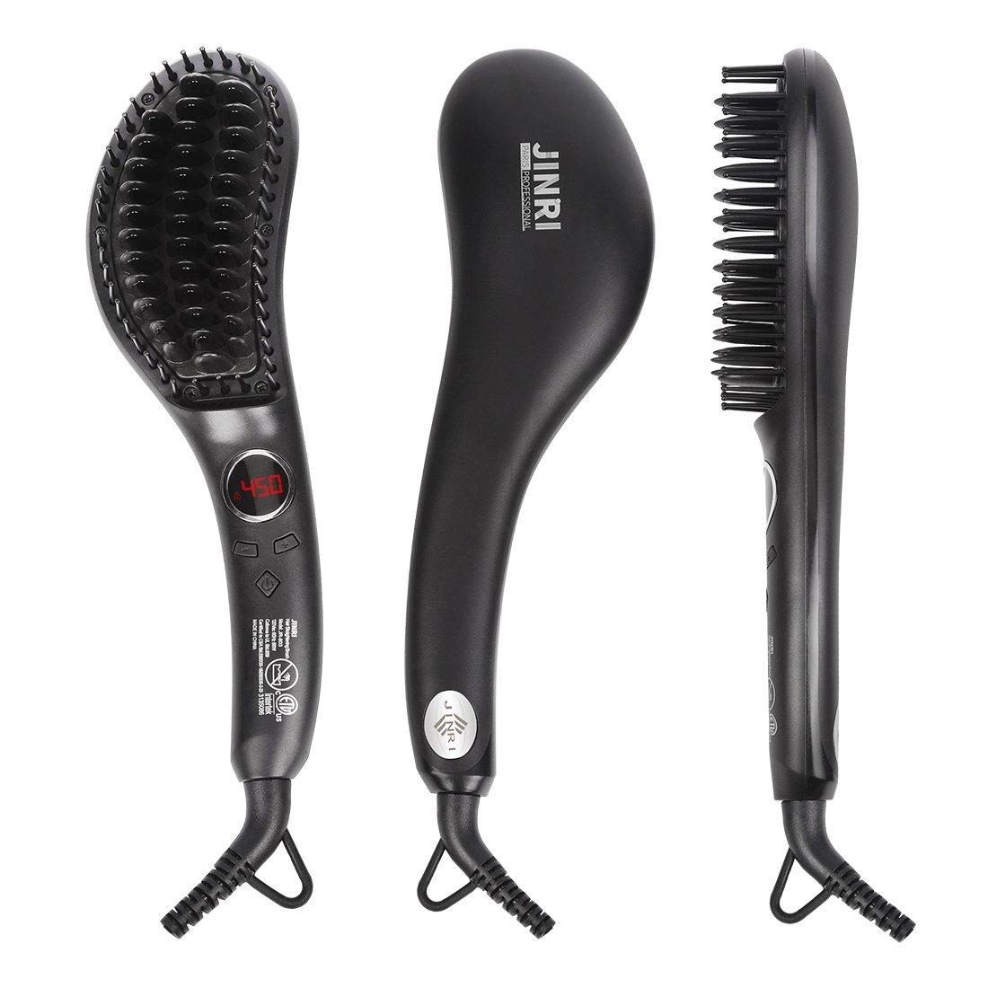 Hair Straightener Brush - Electric Ionic Ceramic Hair Straightening Brush,Hot Fast Heating Straightener Brush,Tempreture Lock & Auto Shut Off Function,Black