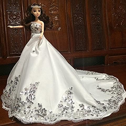 Lanlan Gorgeous Sequined Wedding Bridal Dress Princess Gown Evening Party Dress Doll Clothes Outfit for 12