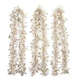 iPEGTOP 3Pcs x 66FT Hanging Tinsel Christmas Garland White & Gold