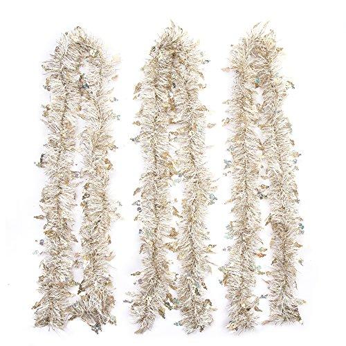 iPEGTOP 3Pcs x 66FT Hanging Tinsel Christmas Garland White & Gold (Large Image)