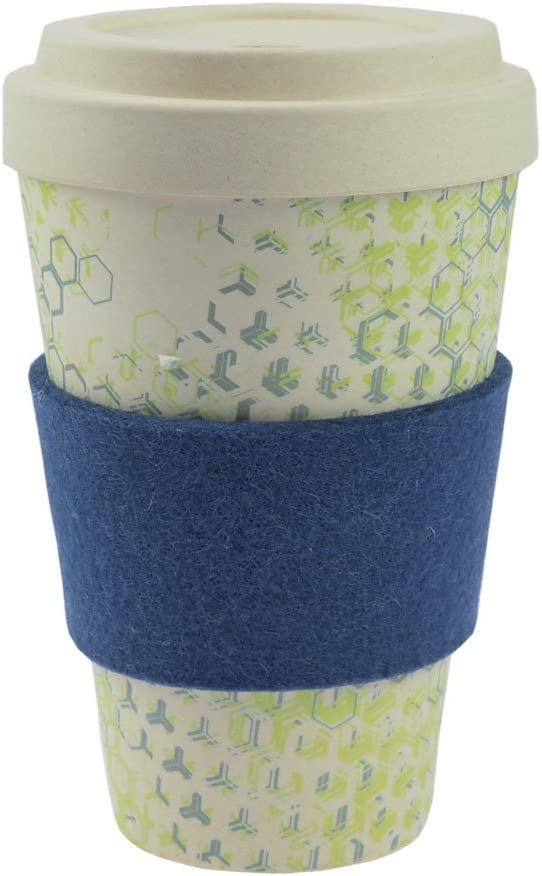 ebos Coffee-to-Go mug bamboo | incl. screw cap, grip ring made of wool felt | coffee mug, tumbler, beverage container | environmentally friendly | designed in Germany (blue (Dynamic New II))