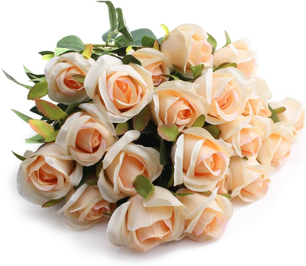 display08 1 Bouquet 12Heads Room Decor Romantic Artificial Rose Flowers Champagne