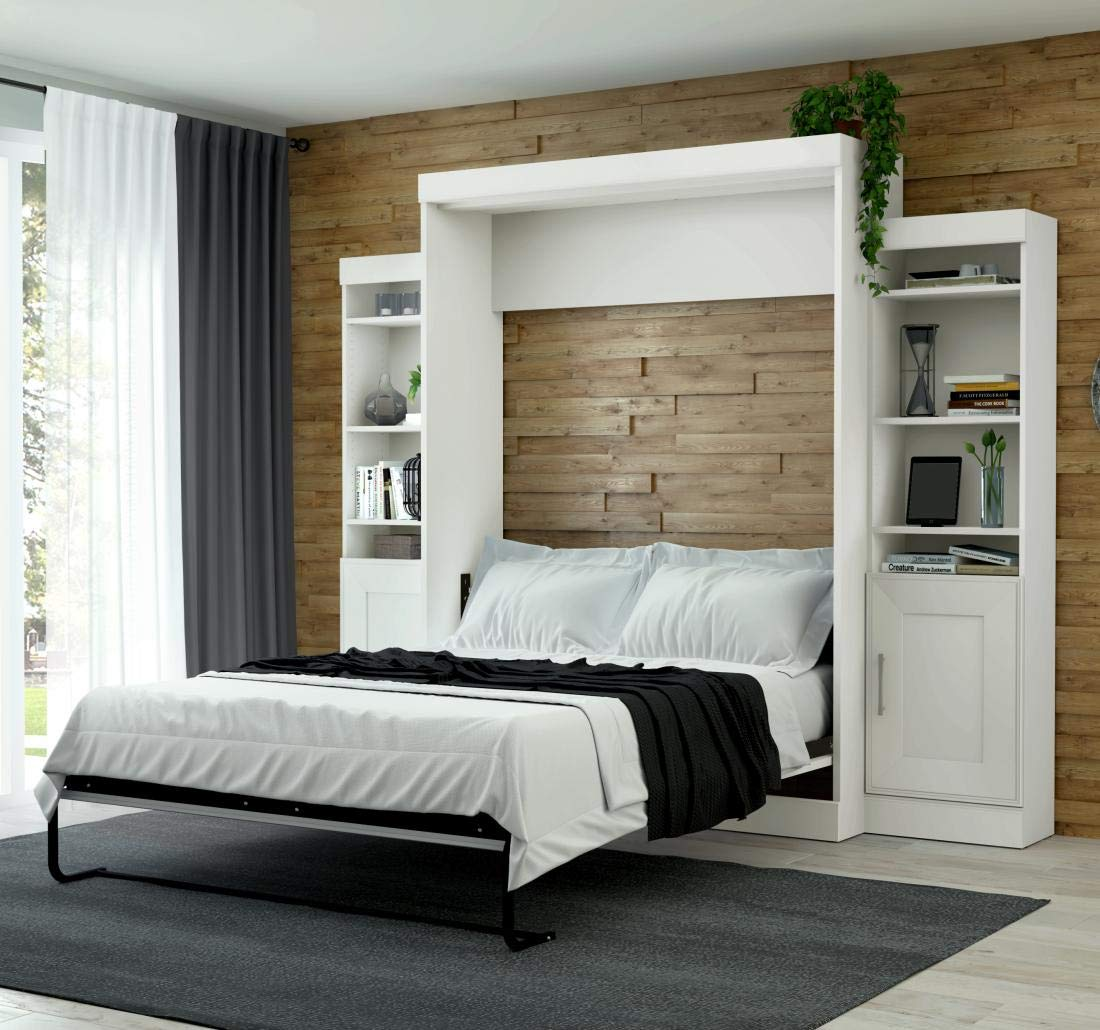 "Bestar Queen Wall Bed with Two 21"" Storage Units and Doors"