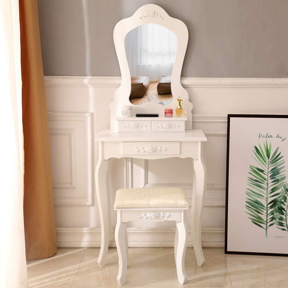 ryokozashi Vanity Table Set, Wood Makeup Dressing Table Stool Set with Mirror and 3 Drawers Cosmetics Organizers-White