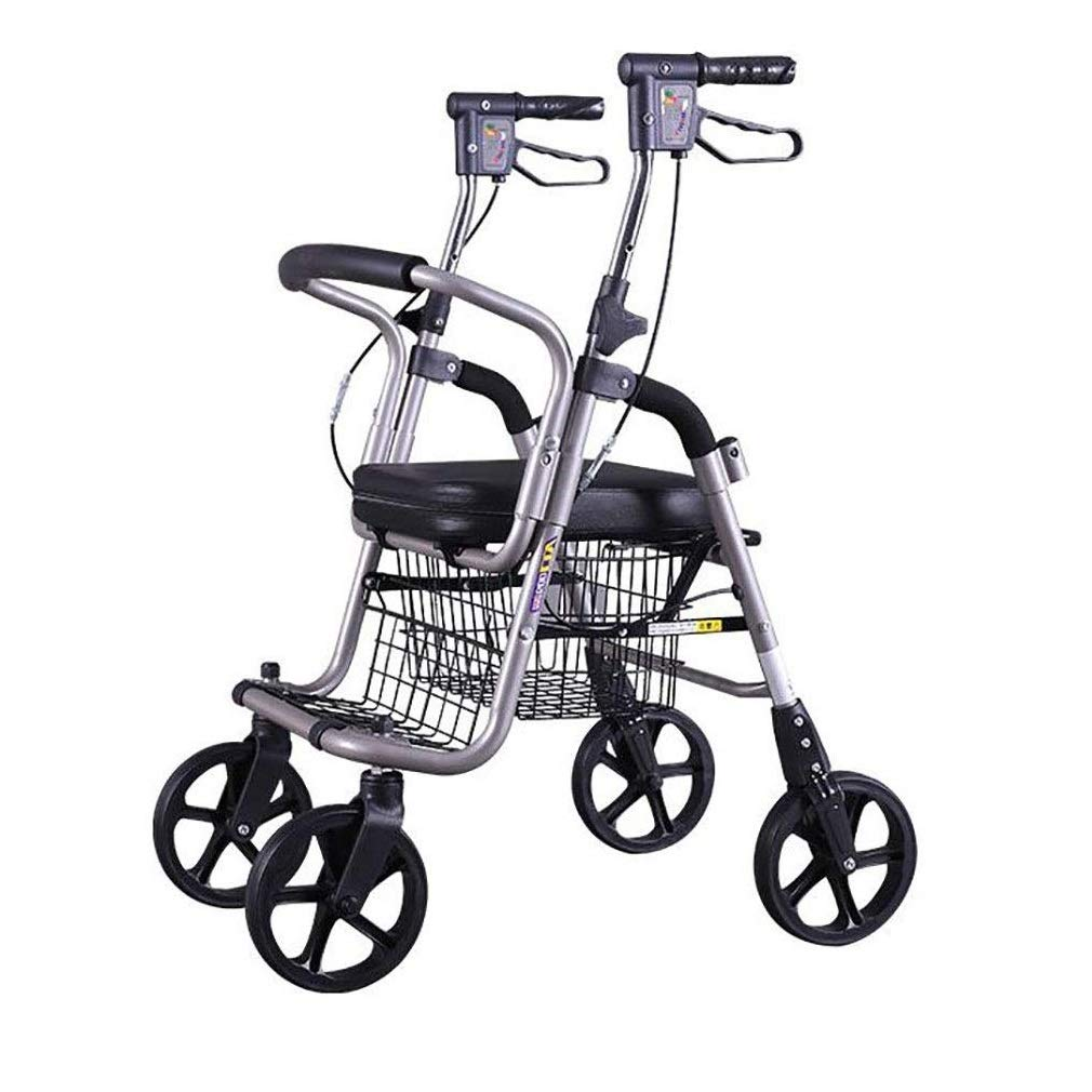 2 in 1 Rollator-Transport Chair,Adjustable Handle Height with Upholstered Seat and Lower Basket Double Safety Brake Auxiliary Walking Safety Walker (Color : Black A)