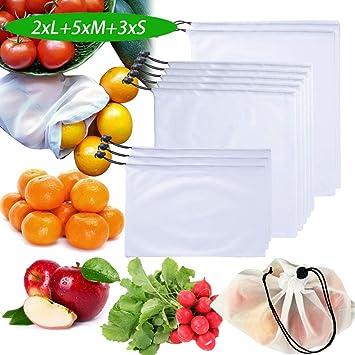 SERWOO 10pcs Bolsas Compra Reutilizables Malla Red para Frutas Verduras Juguetes Almacenamiento Ecológicas Lavable y Transpirable 3 Tamaños
