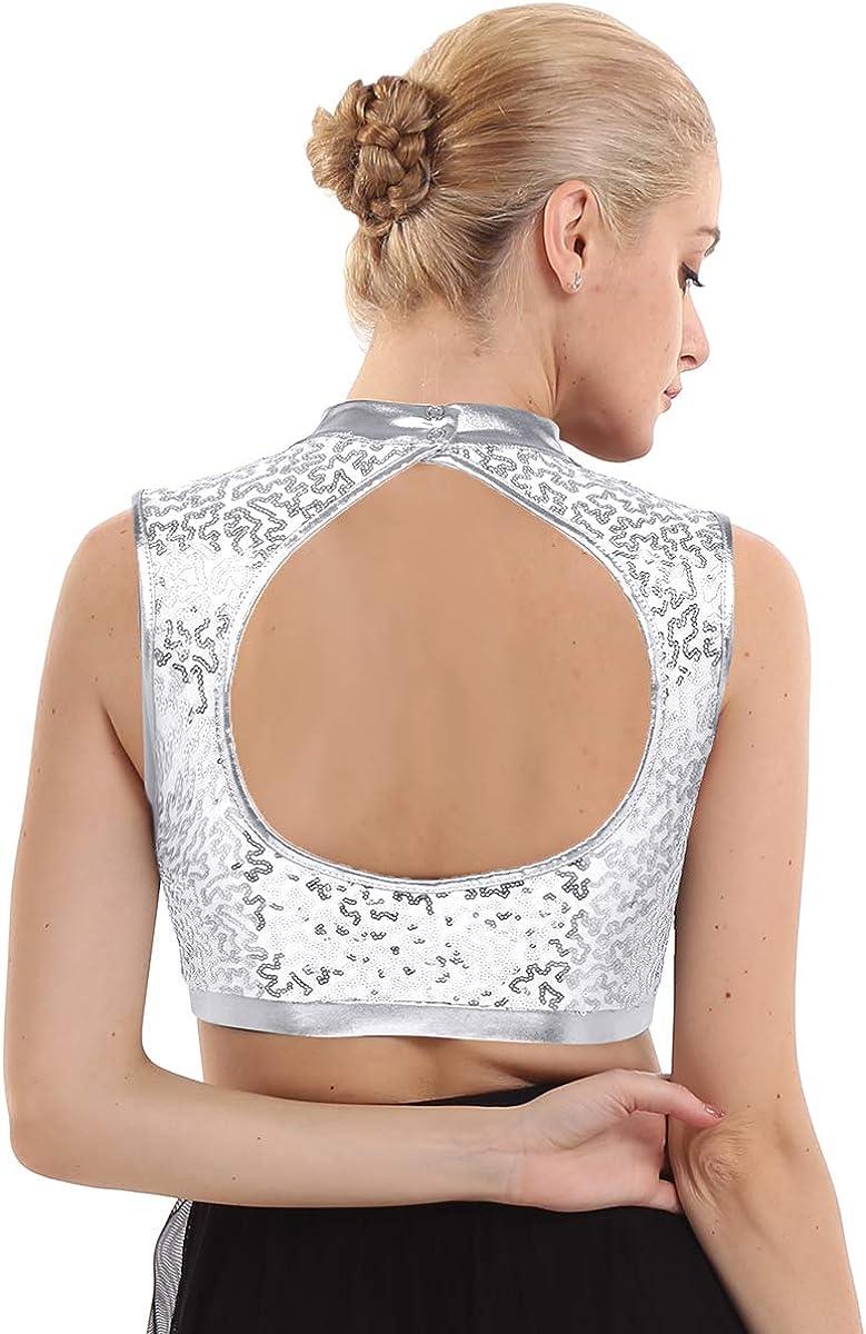 inlzdz Womens Dazzling Glittery Sequins Turtleneck Keyhole Backless Crop Tops Vest Dance Camisole