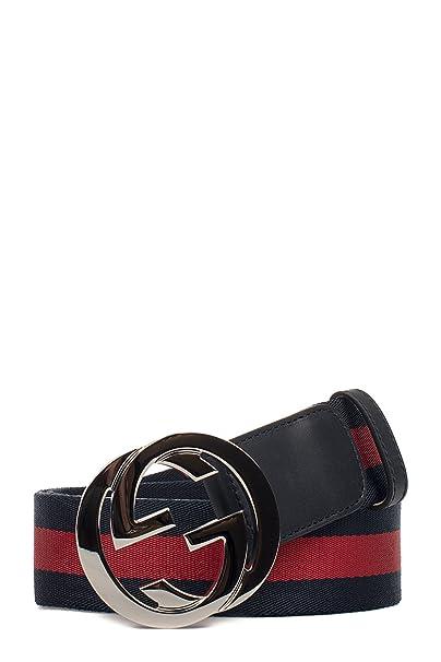 Gucci Hombre 411924H917n8497 Azul Rojo Poliamida Cinturón  Amazon.es  Ropa  y accesorios 828bf0e9184