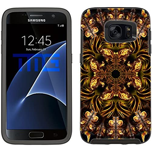 Skin Decal for Otterbox Symmetry Samsung Galaxy S7 Edge Case - Mandala Fire Bird on Black Sales