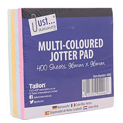Just Stationery - 4 x Memo Multi Coloured Sticky Note Jotter Paper Blocks