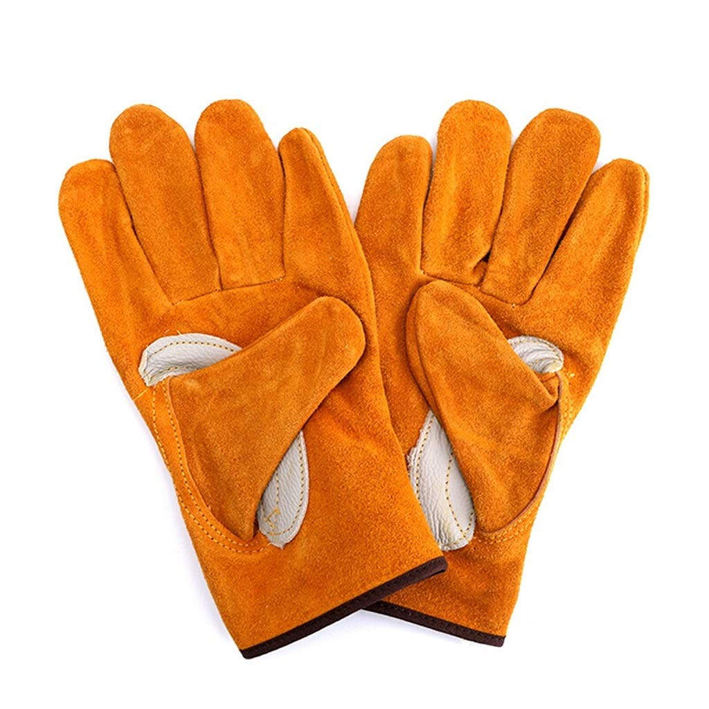 LSLMCS Cowhide Electric Welding Machinery Liquid Nitrogen Cryogenic Gloves Wrist Length Low Temperature-Resistant Gloves Protective Gloves (Yellow)