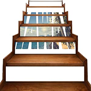 Stairs Decorative Stickers Word Hawaii Tropical Isl Exotic Popular Plac Palm by Ocean Blue Staircase Steps Stickers Decor Removable Self Adhesive Decor, W39.3 x H7 inch