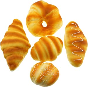 Gresorth Fake Bread Artificial Sesame Horns Conch Bread Toy Collection Party Decoration - 5 PCS