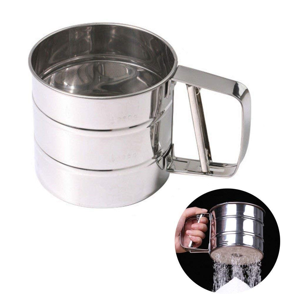 Amazing 1 PC Sifter Cup Sieve Mesh Powder Flour Sieve Stainless Steel Screen Baking Tools