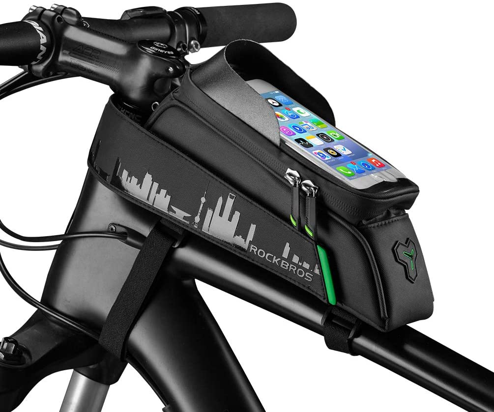ROCK BROS Bike Phone Bag Mount,Top Tube Bike Bag Fingerprint ID Compatible with iPhone X XS Max 7 8 Plus Galaxy S9 Note7, Bicycle Frame Bag (with Rain Cover)