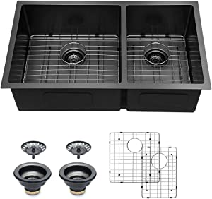 Undermount Kitchen Sink Double Bowl - Logmey 32 inch Kitchen Sink Undermount Gunmetal Matte Black 16 Gauge Double Bowl 60/40 Stainless Steel Kitchen Sinks
