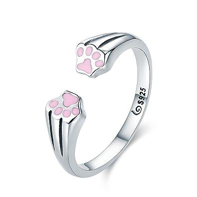 Nueva colección 100% plata de ley 925 Animal mascota Perro Gato huellas huellas de dedo anillo para mujeres compromiso joyería: Amazon.es: Joyería