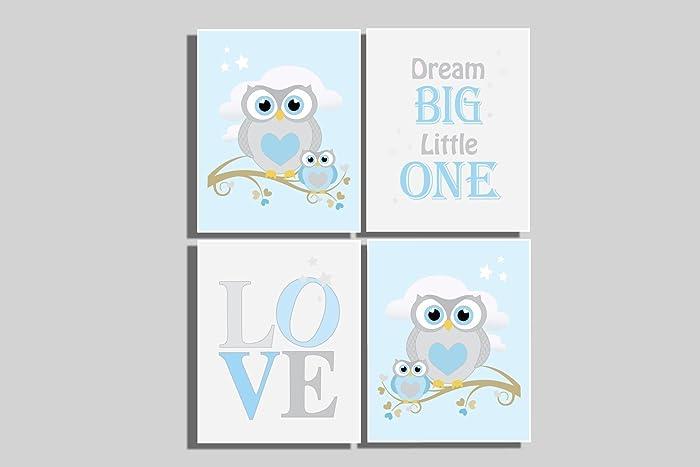 Baby Boyu0027s Nursery Wall Art Owl Decor Pictures Dream Big Little One Baby Shower Gift Newborn  sc 1 st  Amazon.com & Amazon.com: Baby Boyu0027s Nursery Wall Art Owl Decor Pictures Dream Big ...