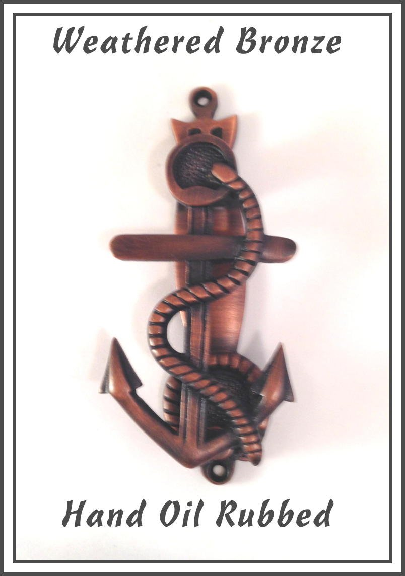 """Exceptional Craftsmanship nautical touch. Hand made Anchor Door Knocker Sea Aged Brass 5-3/4"""" x 2- 1/2"""". Sand casted in solid brass with precision assembly in USA. Oil Rubbed Bronze)"""