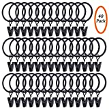 Youngneer Window Curtain Clips Hanger with Rings Strong Metal Drapery Decorative Hanging Curtain Hooks Black 40 Pack