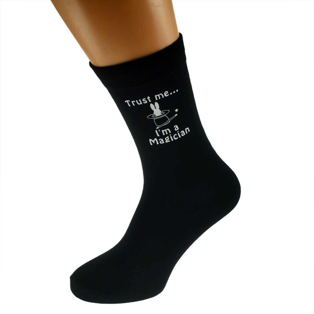 Trust me Im a Magician /& Hat with Rabbit Image Design Mens Black Cotton Rich Socks