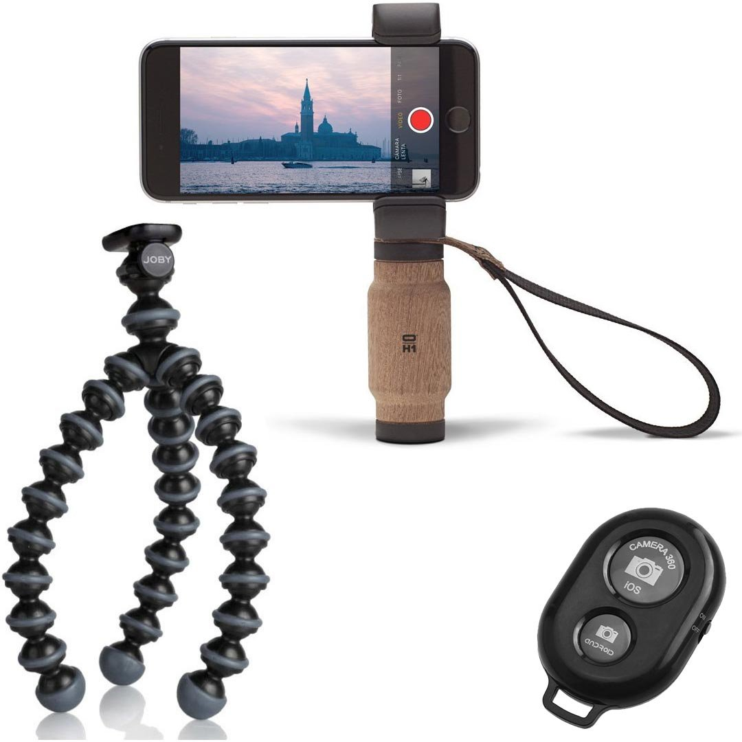 Shoulderpod Handle Grip for Smartphones w/ Flexible Mini Tripod and a Bonus Ivation Wireless Bluetooth Camera Shutter Remote Controller by Calumet