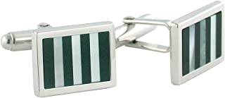 product image for David Donahue Sterling Silver Onyx and Mother of Pearl Striped Cufflinks (H95128502)