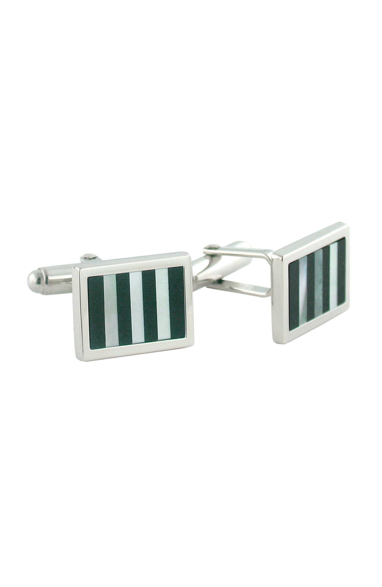 David Donahue Sterling Silver Onyx and Mother of Pearl Striped Cufflinks (H95128502) by David Donahue