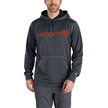 47fb1b3b78f23 Carhartt Men Hoodie Force Ext. Logo, Größe S, Farbe Granite Heather