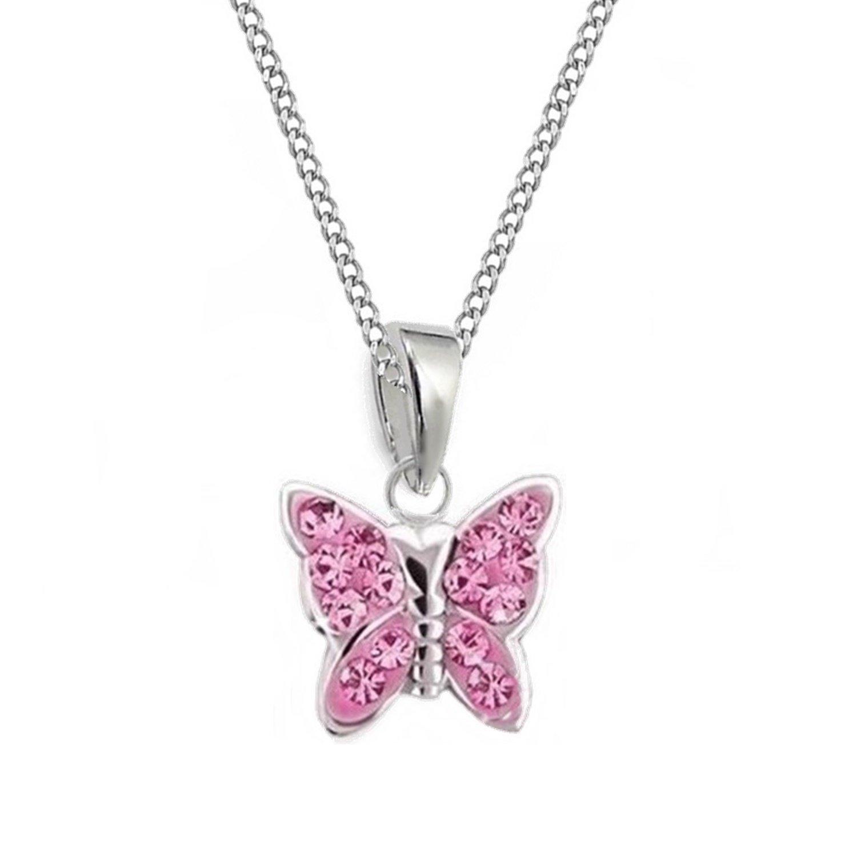GH* KIDS Rosa Kristall Schmetterling ANHÄNGER mit KETTE 925 Echt Silber Mädchen Baby Kinder SET GH-1a RO0067