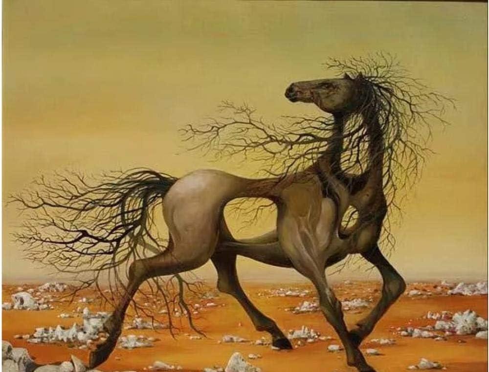 Dali famoso cuadro abstracto transparente marrón caballo animal paisaje diy digital pintura al óleo regalo único para decoración del hogar Artwork40 * 50 cm