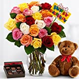 ProFlowers - Ultimate Birthday Bouquet (with FREE glass vase) - Flowers