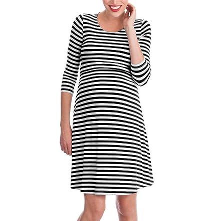 d8496bc7114 Nacome Women s Maternity Nursing Tops 3 4 Sleeve Breastfeeding Stripe  Pregnant Dress (Black