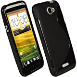 iGadgitz Dual Tone Black Durable Crystal Gel Skin (TPU) Case Cover for HTC One X S720e & HTC One X+ Plus Android Smartphone Mobile Phone + Screen Protector
