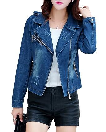 sale retailer 7d130 1ba71 ZongSen Damen Jeansjacke Denim Jeans Reißverschluss ...