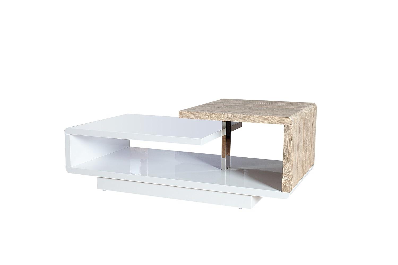 DuNord Design Couchtisch Sofatisch Sofatisch Sofatisch Level 100cm weiß Hochglanz Eichefurnier Design Lounge Tisch aaec5d