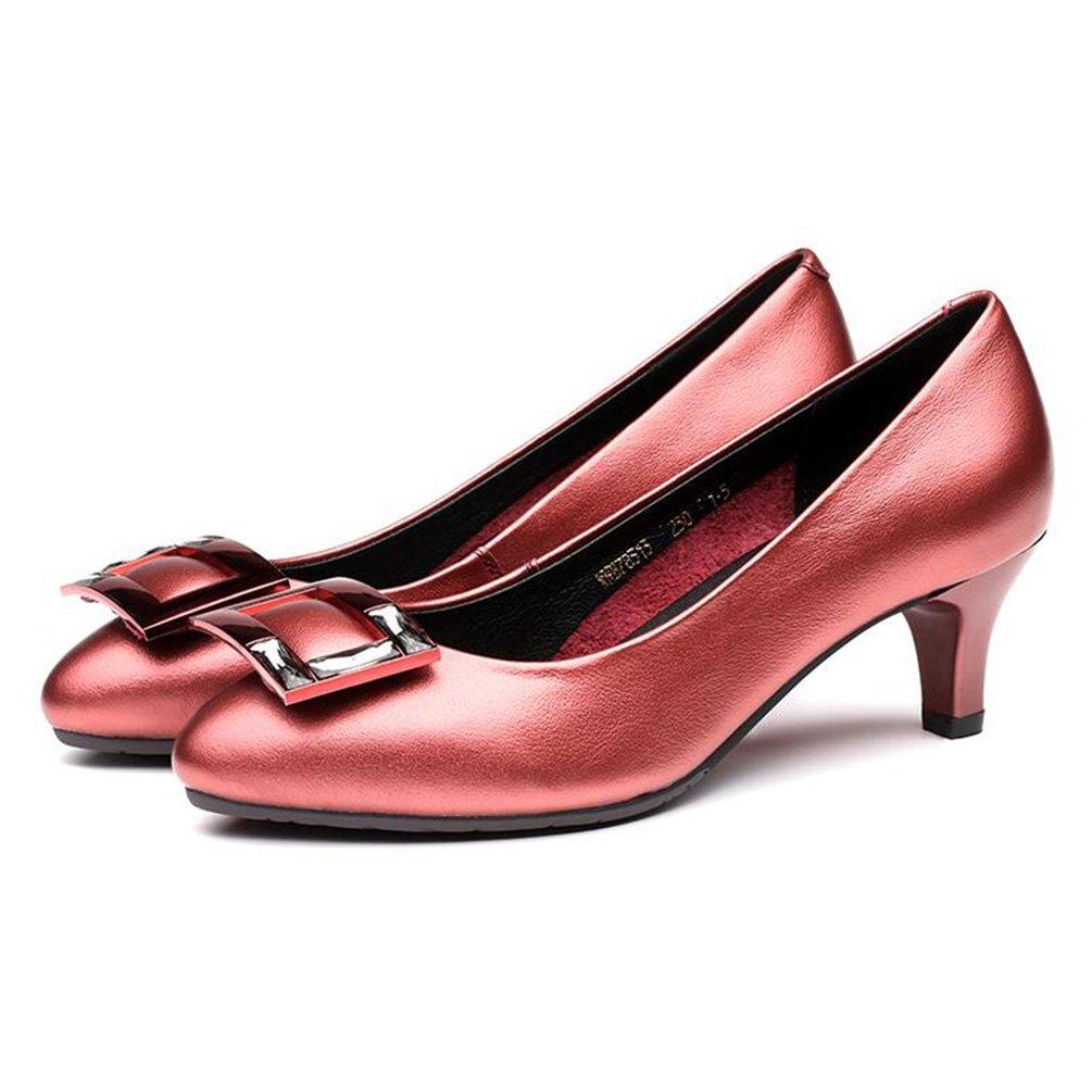 Sommermode Wies Fein mit Einfachen Solide Quadratische Schnalle Schuhe mit Einzelnen Schuhen (Farbe   rot, Größe   35)