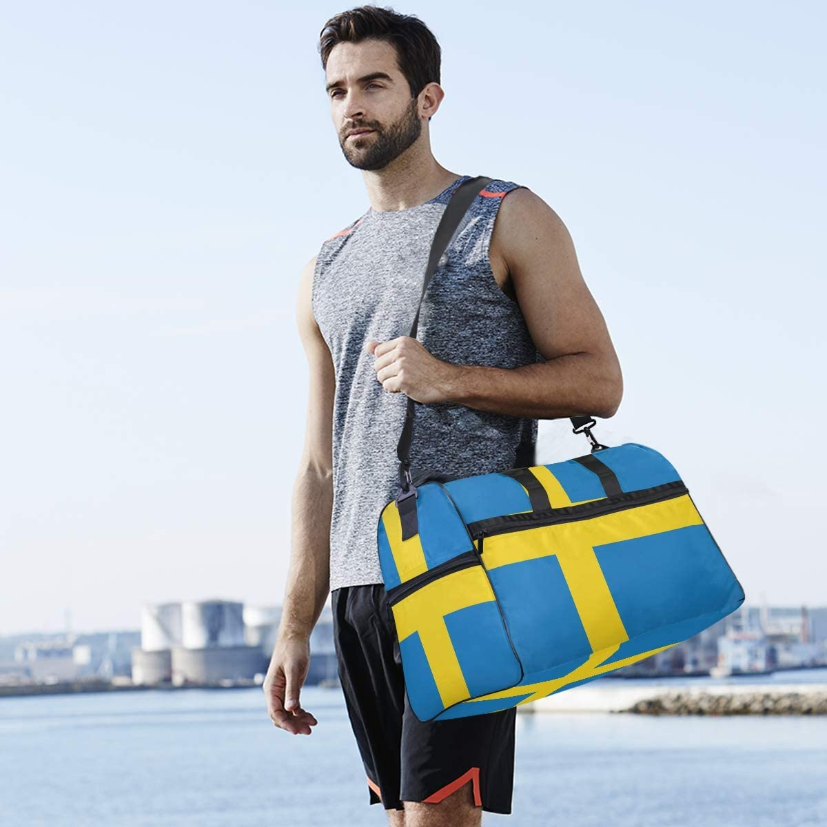MUOOUM Flag Of The Sweden Large Duffle Bags Sports Gym Bag with Shoes Compartment for Men and Women