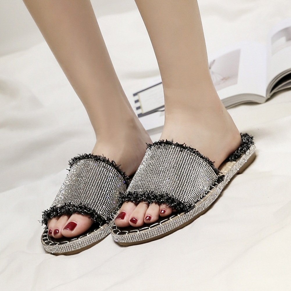 PENGFEI Zapatillas Pantofola Verano Hembra Fondo Plano Playa Diamante De Imitación Moda, Altura del Talón 1CM, 2 Colores (Color : Negro, Tamaño : EU37/UK5/US6.5/235) EU37/UK5/US6.5/235|Negro