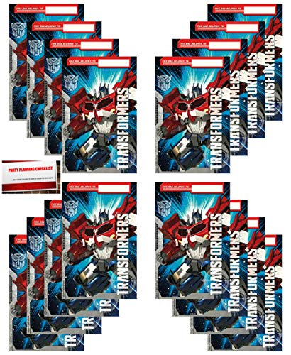 16 Pack Transformers Optimus Prime Party Plastic Loot Treat Candy Favor Bags (Plus Party Planning Checklist by Mikes Super Store)