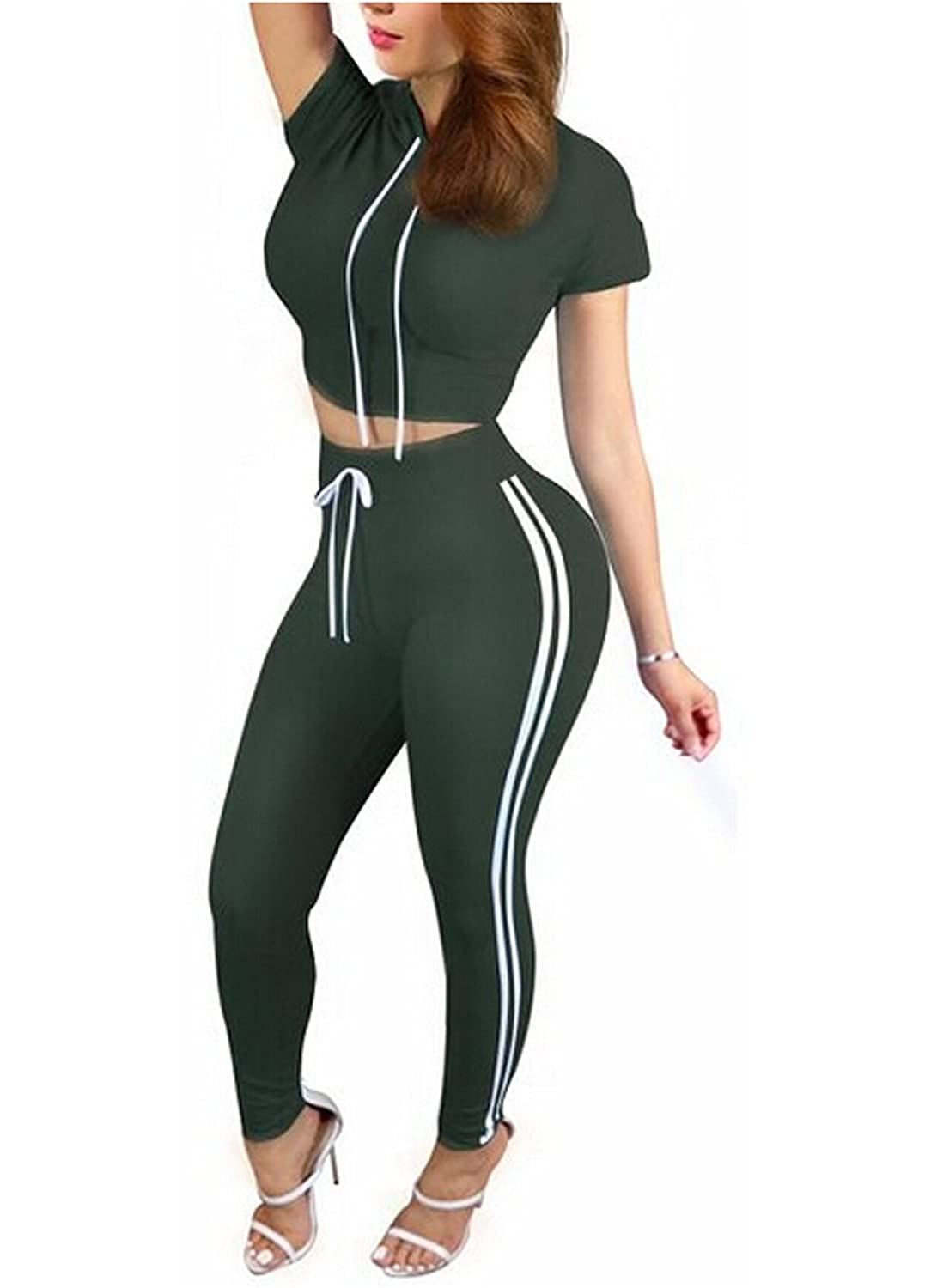 Women's Long Sleeve Hoody Crop Top and Ripped Pant Suit A04008
