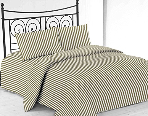 United Linens printed striped 4 piece sheet sets Brushed Microfiber 1800 Bedding - Wrinkle, Fade, Stain Resistant - Hypoallergenic - 4 Piece (Twin, sage)