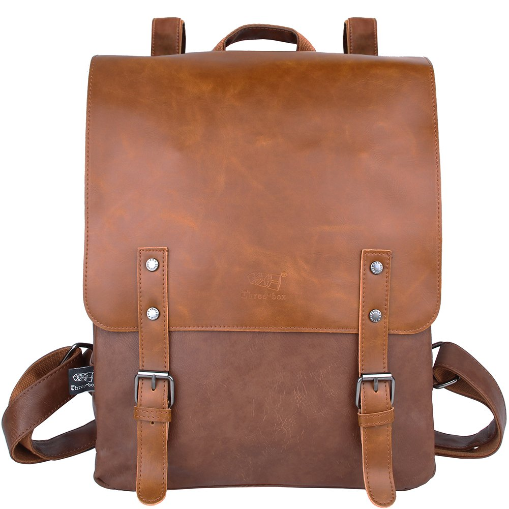 Vintage Leather Backpack Laptop Bookbag for Women Men, Parlober Leather College School Backpack Travel Daypack(Brown)
