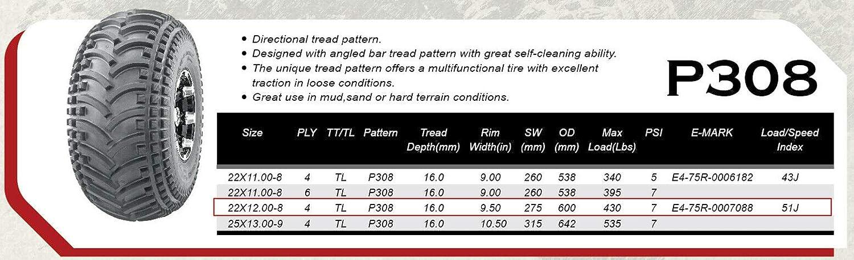 AutorForever 2pcs 22x12-8 Rear ATV UTV Tubeless Tires 4Ply Pattern P308