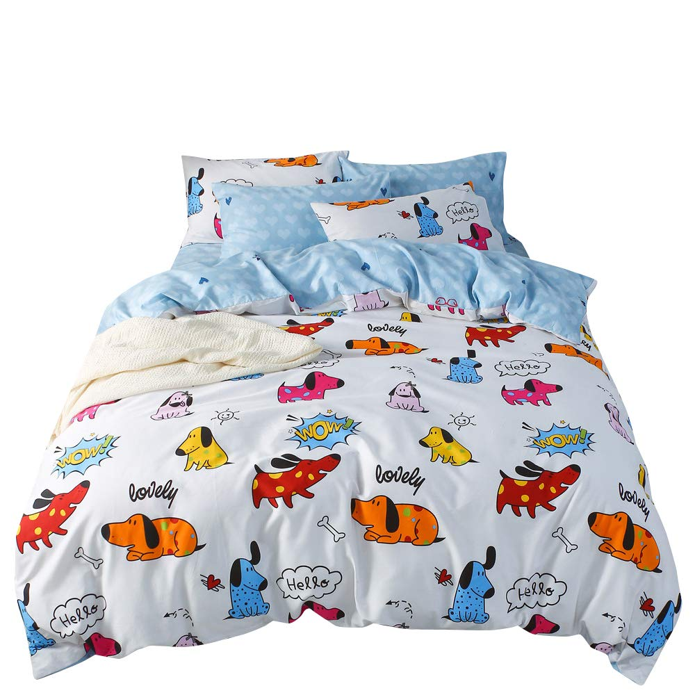 OTOB Duvet Cover Set Queen Duvet Cover Puppy Hotel Bedding Sets Blue White Comforter Cover with Soft Lightweight Cotton 1 Duvet Cover and 2 Pillow Shams (Queen, Cartoon Puppy)